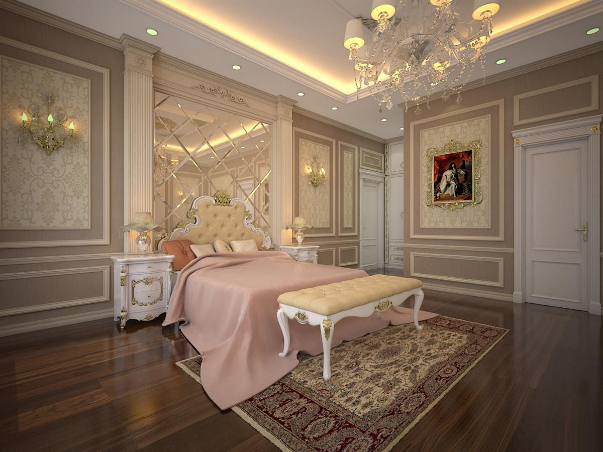 Thiết kế phòng ngủ với phào chỉ theo phong cách tân cổ điển